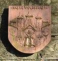 Montabaur, Rastplatz gegenüber Amtsgericht, Wappen Montabaur.JPG
