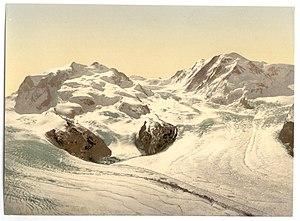 Gorner Glacier - Image: Monte Rosa, Lyskamm, with Gorner Glacier, Valais, Alps of, Switzerland LCCN2001703309