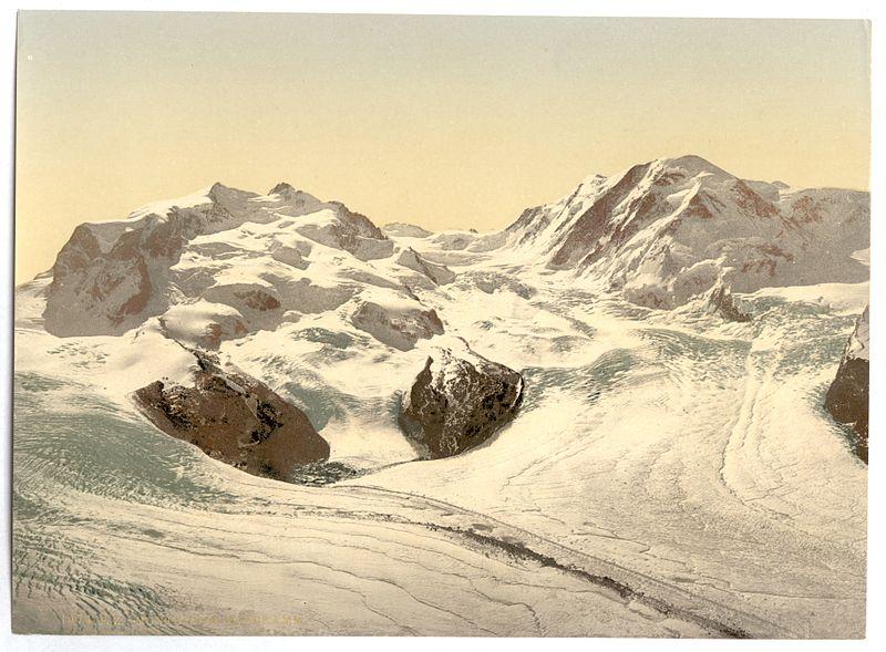 File:Monte Rosa, Lyskamm, with Gorner Glacier, Valais, Alps of, Switzerland-LCCN2001703309.jpg