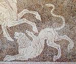 Mosaico con bellerofonte e la chimera, da rodi sud, 300-270 ac. ca. 03.jpg