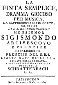 Mozart - La finta semplice - title page of the libretto, Salzburg 1769.png