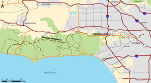 Mulholland Drive - Map of Mulholland Drive (orange) and Mulholland Highway (brown) in Los Angeles County