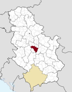 Location of Kragujevac within Serbia.