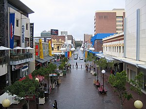 Murray Street, Perth - View along the pedestrian mall in the direction of Barrack Street and St Mary's Cathedral.