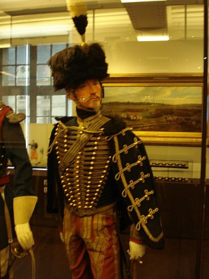 Hussar - Uniform of French Second Empire Hussar with the characteristic tight dolman jacket and loose-hanging pelisse over-jacket, as well as the famous busby