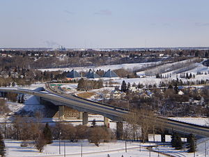 97/98/101 Avenue, Edmonton - Looking east along 98 Avenue overlooking the James MacDonald Bridge and Muttart Conservatory