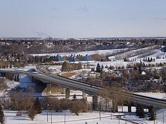 97/98/101 Avenue, Edmonton - Looking east along 98 Avenue overlooking the James MacDonald Bridge and Muttart Conservatory