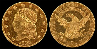 Half eagle - The 1822 Capped Head Half Eagle (large diameter) is one of only three known for the year.