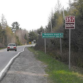 La route 357 en direction sud, au sud de Middle Musquodoboit