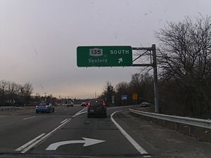 New York State Route 25 - NY 135 exit on NY 25.