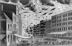 Broad Street (Manhattan) - Explosion of a warehouse on Broad Street during the Great New York City Fire of 1845, July 19, 1845