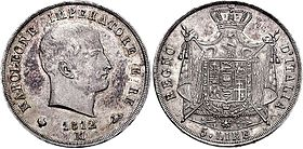 5 lire coin of the Regno d'Italia (1812) Napoleone 5 lire 76001838.jpg