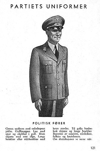 Nasjonal Samling - Image: Nasjonal Samling NS Aarbok 1944 s 121 (uniformer) Politisk fører