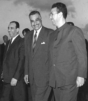 Algeria–Egypt relations - Egyptian President Gamal Abdel Nasser (center) receiving Algerian President Ahmed Ben Bella (right) for the Arab League summit in Alexandria, September 1964.
