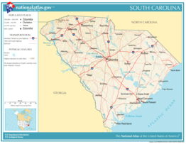 Kaart van State of South Carolina