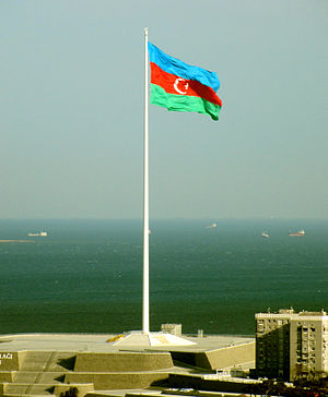 Flag of Azerbaijan - National Flag Square in Bayil, Baku.