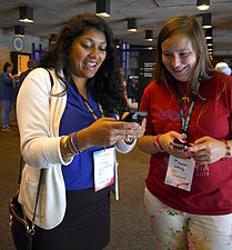 Naureen Nayyar and Léa Formaux, Wikimania 2014 day 1.jpg