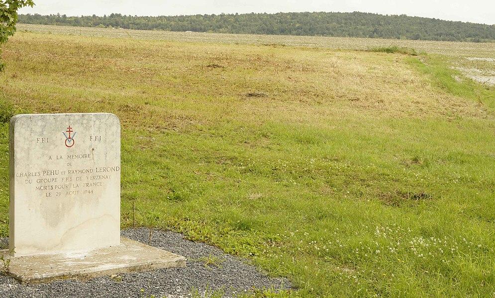 Commune de Nauroy monument aux  FFI tombés le 29 aout 1944: Charles Péhu et Raymond Lerond, lieu dit Derrière la rue Rémy sur la D64, en arrière plan le mont de Moronvillers.