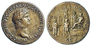 Number of the Beast - Coin showing Nero distributing charity to a citizen. c. 64–66