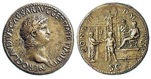 Nero AE Sestertius. 64-66 AD. NERO CLAVDIVS CA...