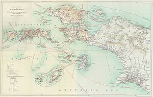 Cecil Rawling - A Dutch map of expeditions to New Guinea 1907–1915