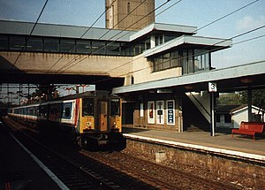 Harlow Town railway station - A Network SouthEast Class 317 at Harlow Town in the mid 1990s