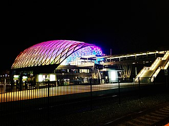 Anaheim Regional Transportation Intermodal Center - Station from the platforms at night