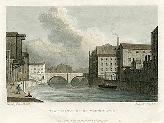 Albert Bridge, Manchester - New Bailey Bridge, c.1830