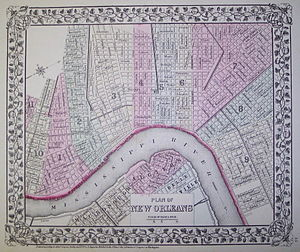 Wards of New Orleans - Map showing the first 11 Wards of New Orleans, c. 1870 or before