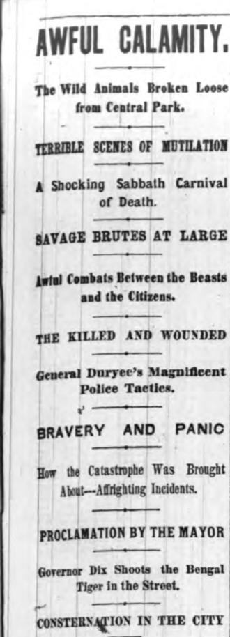 1874 Central Park Zoo Escape - Headline for New York Herald story