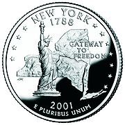 The Statue of Liberty is part of the New York State Quarter