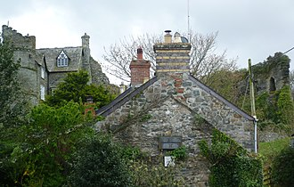 Newport, Pembrokeshire - View of castle and attached house from foot of Castle Street