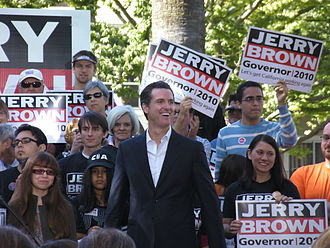 Gavin Newsom - Gavin Newsom at a Jerry Brown campaign event, 2010