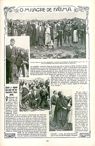 Marian apparition - A photostatic copy of a page from Ilustração Portuguesa, October 29, 1917, showing the crowd looking at the miracle of the Sun during the Fátima apparitions in Cova da Iria (attributed to the Blessed Virgin Mary).