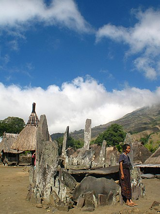 Ngada Regency - An ancient megalithic structure found in the village of Bena, Ngada Regency, Flores. The village houses several similar megastructures as the one pictured here.