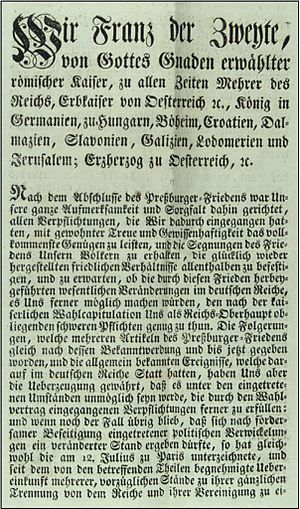Dissolution of the Holy Roman Empire - Printed version of the abdication of Francis II, Holy Roman Emperor