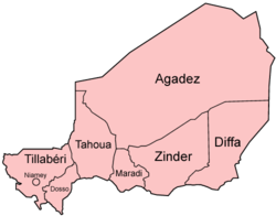 Figure regional administrative division of the Niger