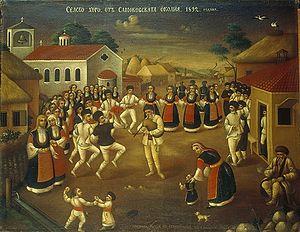 Samokov - Селско хоро от Самоковска околия; painting by Nikola Obrazopisov