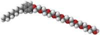 Ball-and-stick model of a nonoxynol-9 molecule.