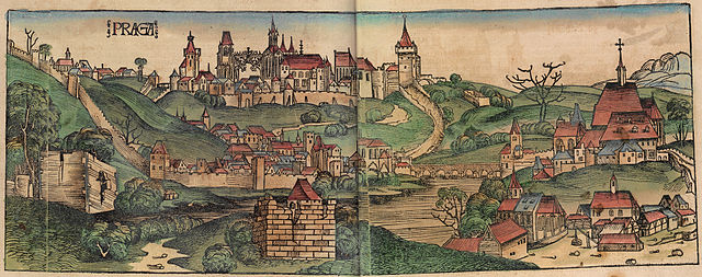 Prag - Holzschnitt aus der Schedel'schen Weltchronik (lateinische Ausgabe in Sao Paulo), Blatt 229v/230r / Quelle: Liber_Chronicarum_f_229v f.jpg