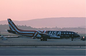 Aircraft livery - Douglas DC-8 of Overseas National Airways in its tribute to the U.S.A.'s Bicentennial Commemorative livery at Zurich in 1975
