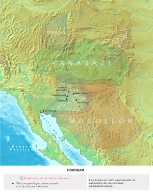 Agriculture in the prehistoric Southwest - A map of the pre-historic cultures of the American Southwest ca 1200 CE. Several Hohokam settlements are shown.