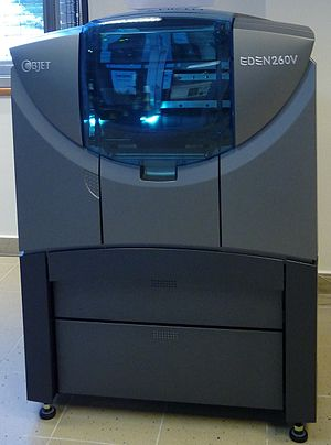 English: 3D printer Objet Eden 260V. Polyjet h...