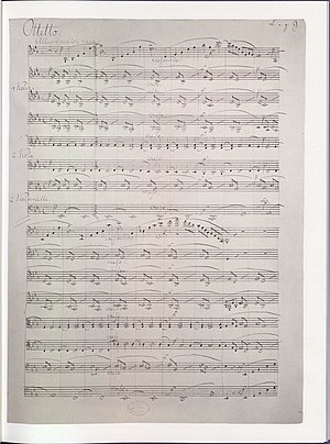String octet - First page of the autograph manuscript score of Mendelssohn's Octet, Op. 20