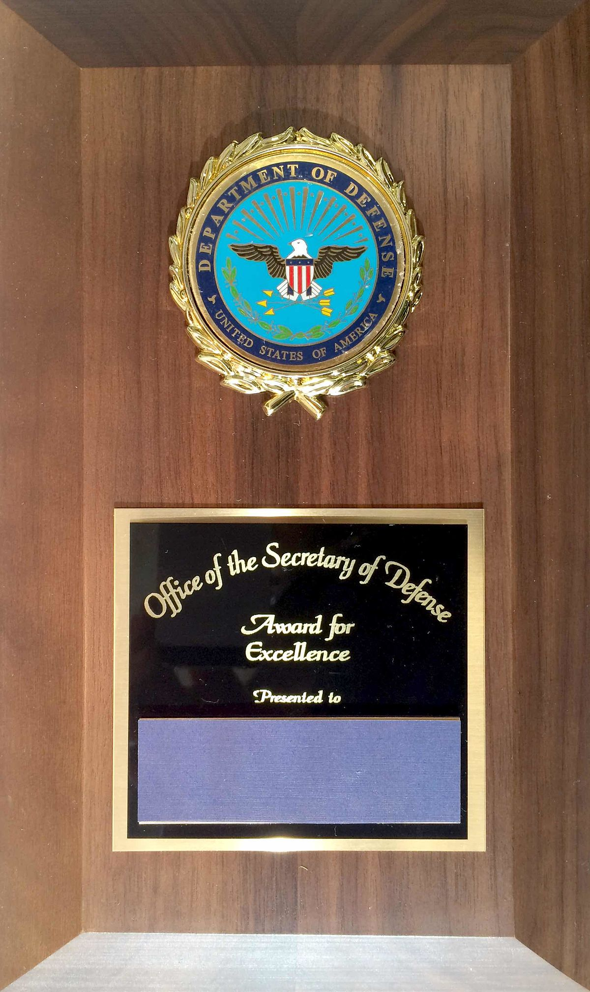 Office of the Secretary of Defense Award for Excellence ...