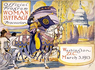 Official program of the Woman Suffrage Parade of 1913. In the actual march, the woman on horseback was Inez Milholland. Official program - Woman suffrage procession March 3, 1913 - crop.jpg