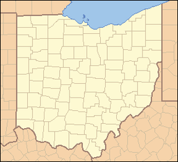 Location of Cowan Lake State Park in Ohio