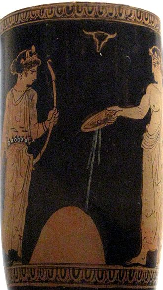 Libation - Apollo pouring a libation from a phiale onto the omphalos, with his sister Artemis attending; a bucranium hangs above