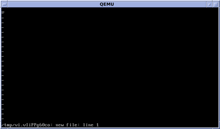 The vi editor in OpenBSD (nvi) on startup, editing a temporary empty file OpenBSD vi Editor.png