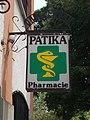 Oroszlánkő pharmacy sign, 2018 Oroszlány.jpg